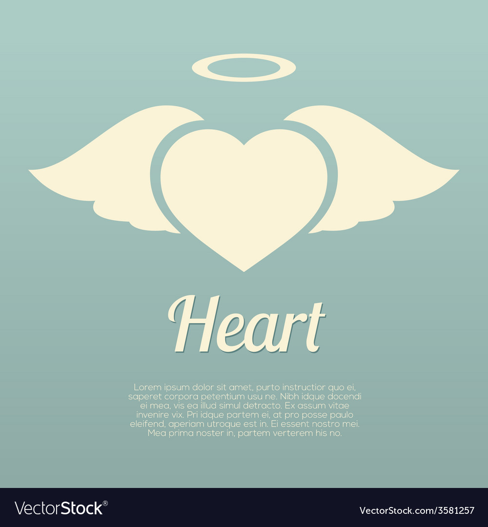 Single heart wings with halo symbol vector | Price: 1 Credit (USD $1)