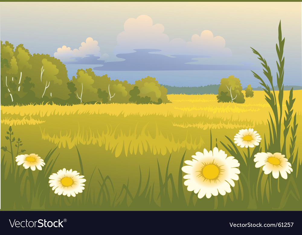 Summer sunny landscape vector | Price: 1 Credit (USD $1)