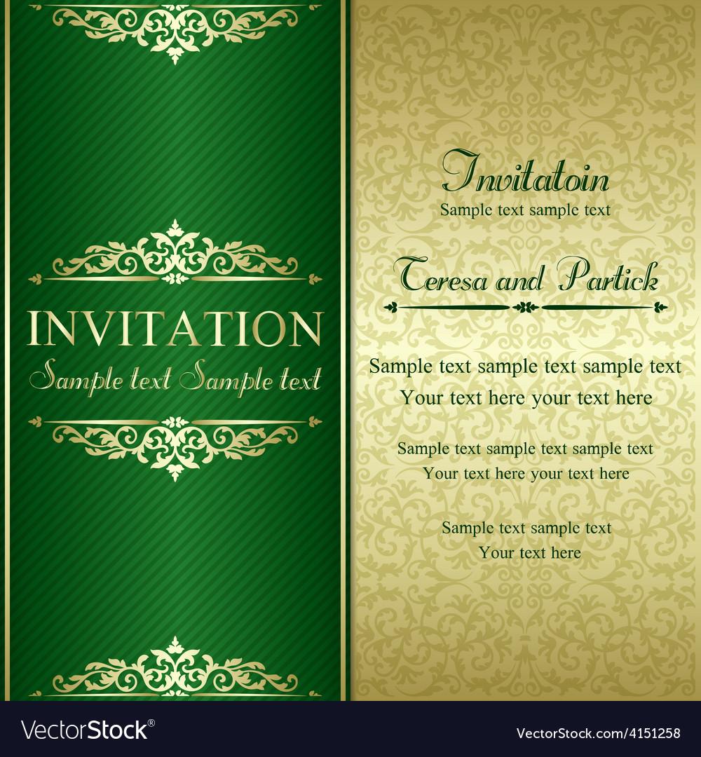 Baroque invitation gold and green vector   Price: 1 Credit (USD $1)