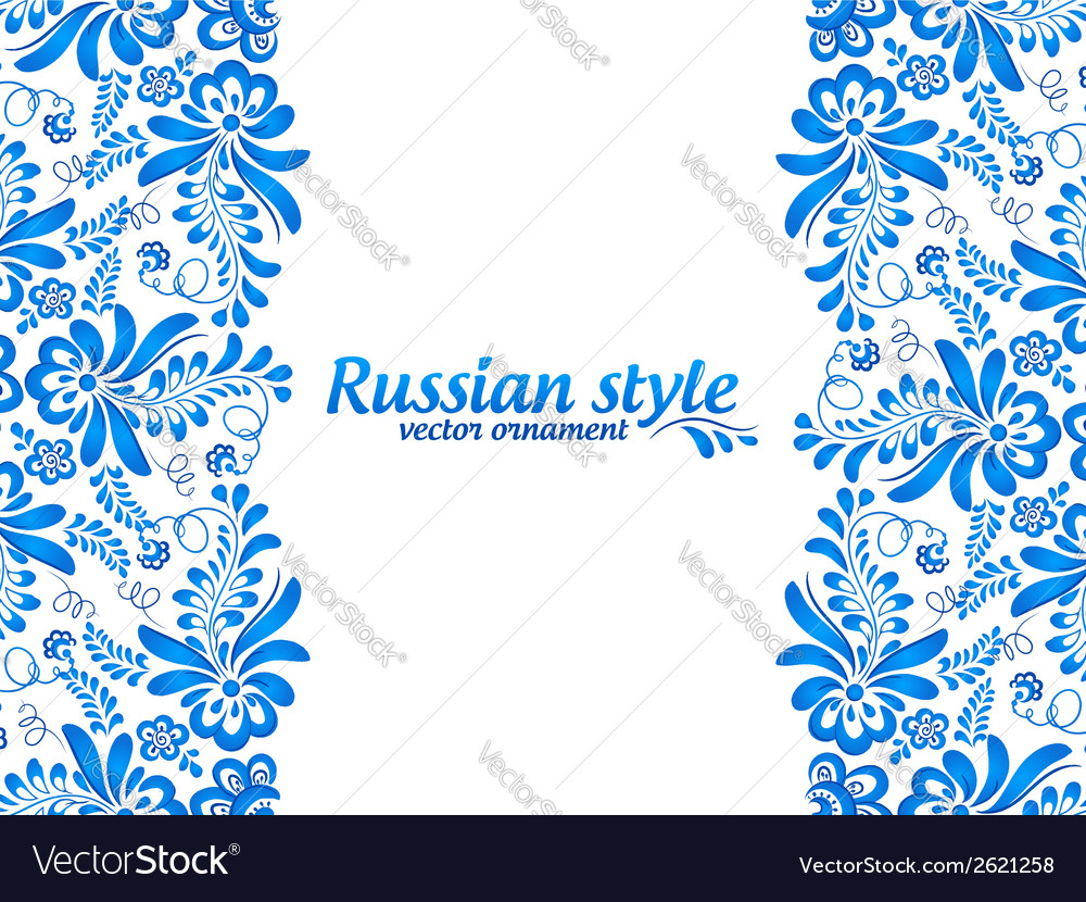 Blue floral ornament in russian gzhel style vector | Price: 1 Credit (USD $1)