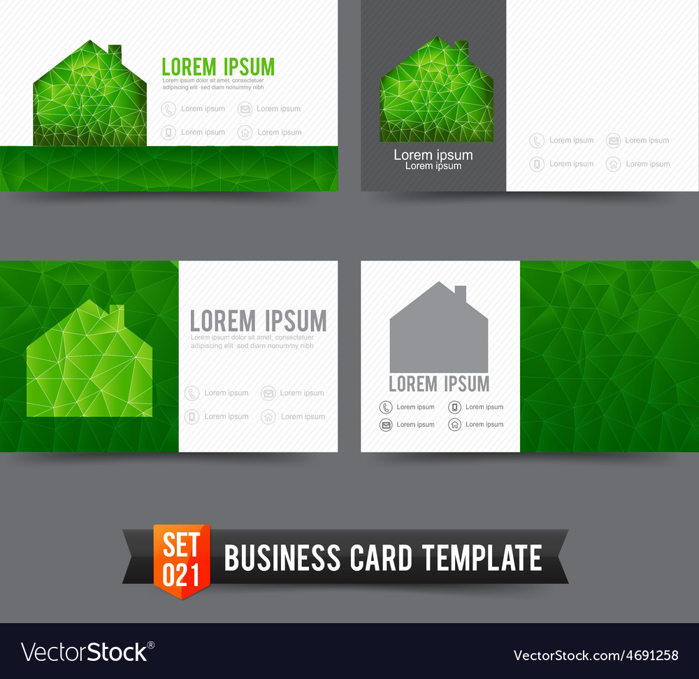 Business card template set 021 green house ecology vector | Price: 1 Credit (USD $1)