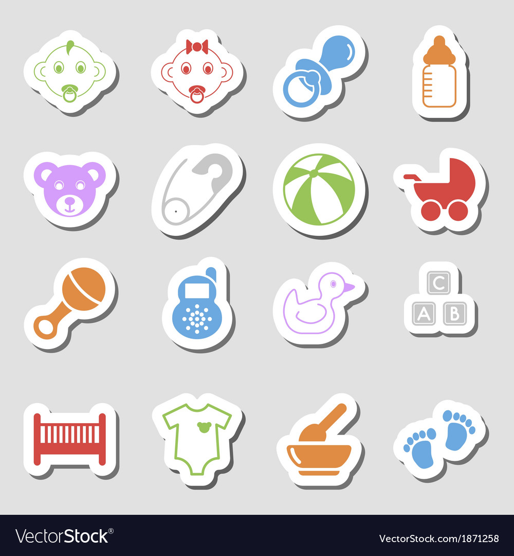 Color baby icons as labes vector | Price: 1 Credit (USD $1)