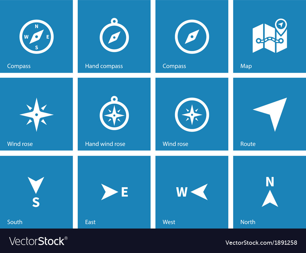 Compass icons on blue background vector | Price: 1 Credit (USD $1)