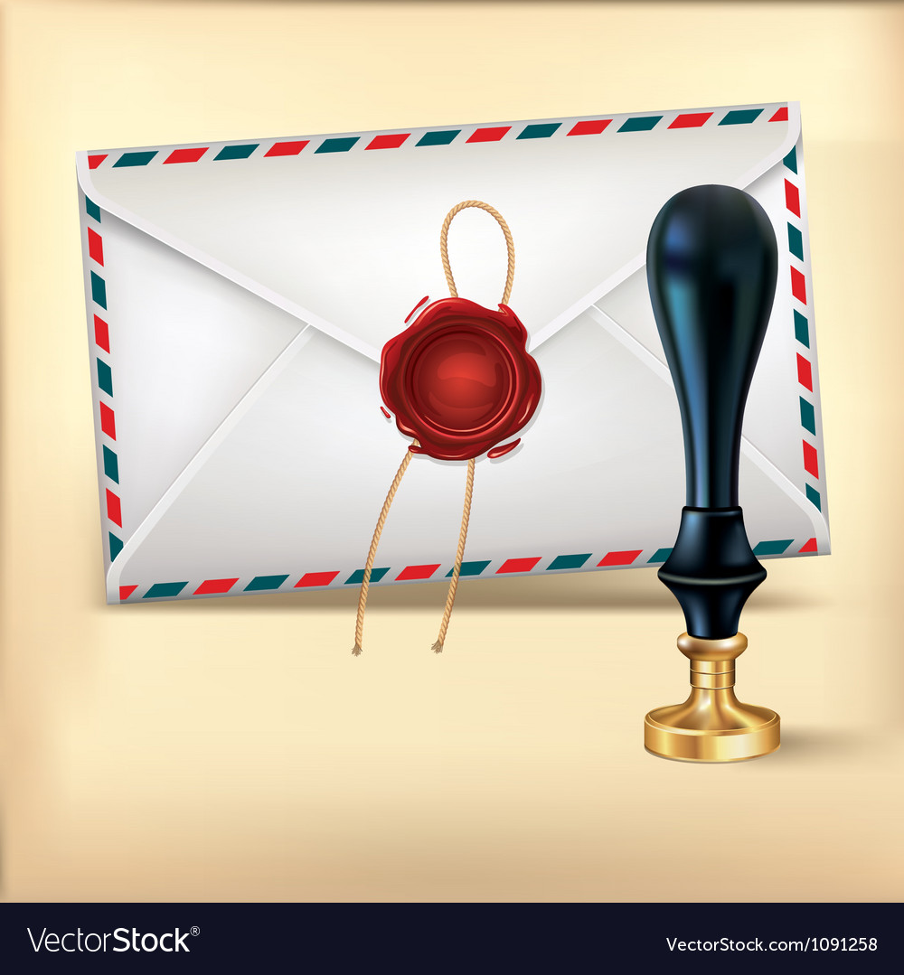 Envelope and rad wax with wax seal stamp vector | Price: 1 Credit (USD $1)