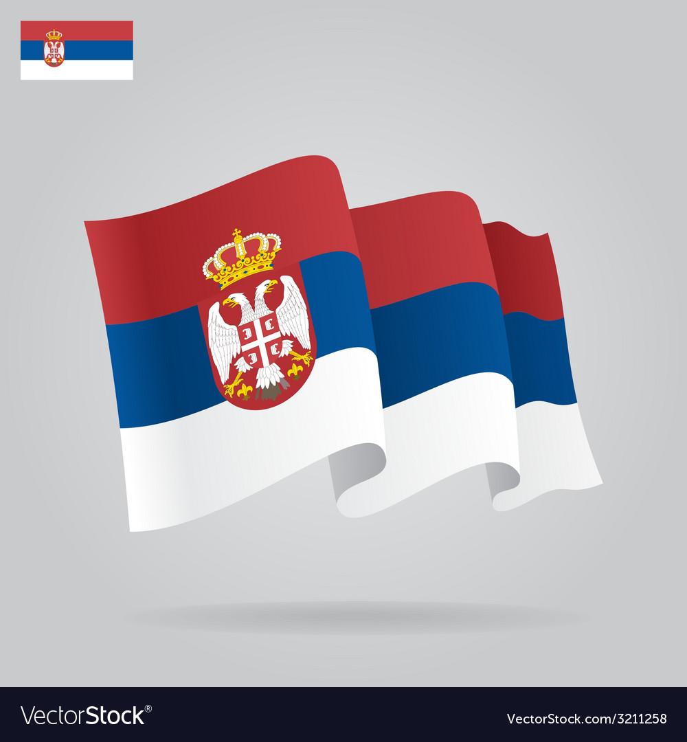 Flat and waving serbian flag vector   Price: 1 Credit (USD $1)