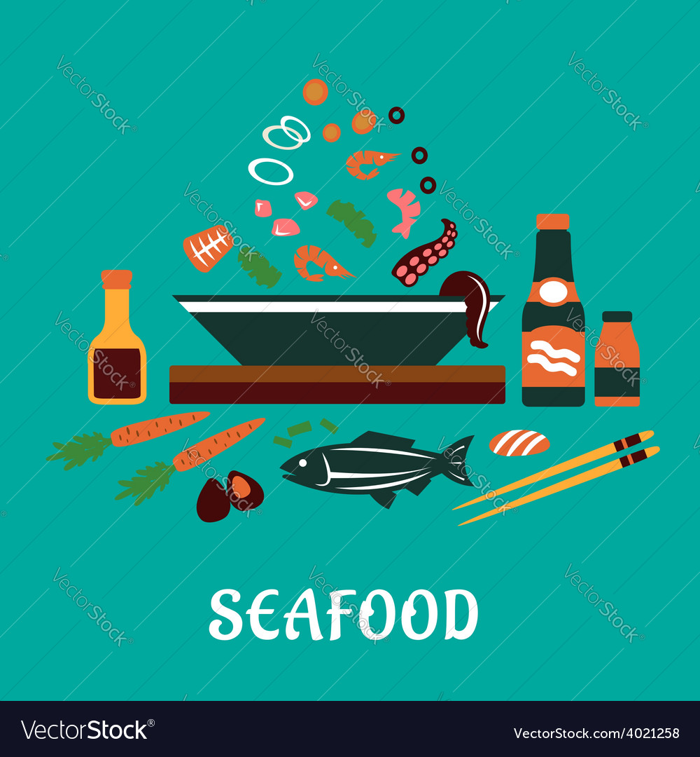 Flat seafood dish concept with salad ingredients vector | Price: 1 Credit (USD $1)