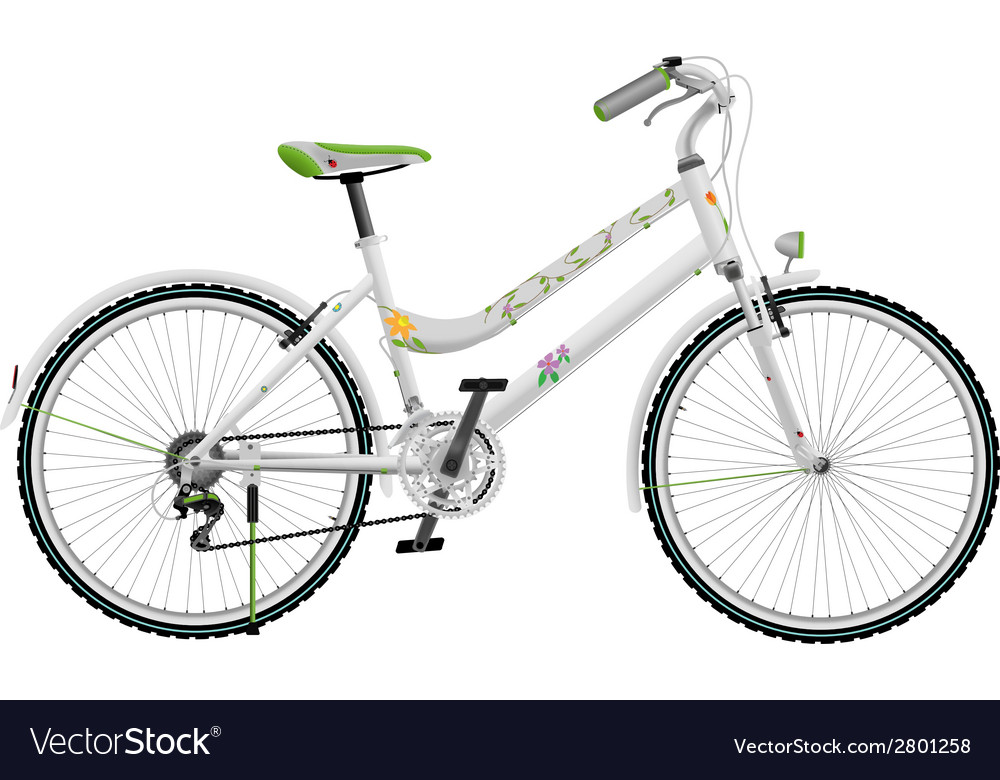 Ladys white bike vector | Price: 1 Credit (USD $1)
