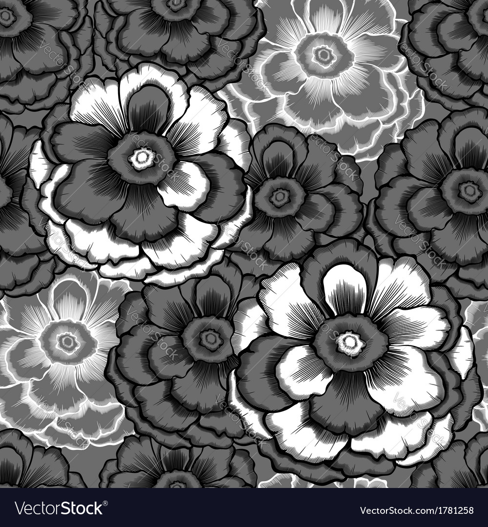 Monochrome seamless pattern with decorative peony vector | Price: 1 Credit (USD $1)