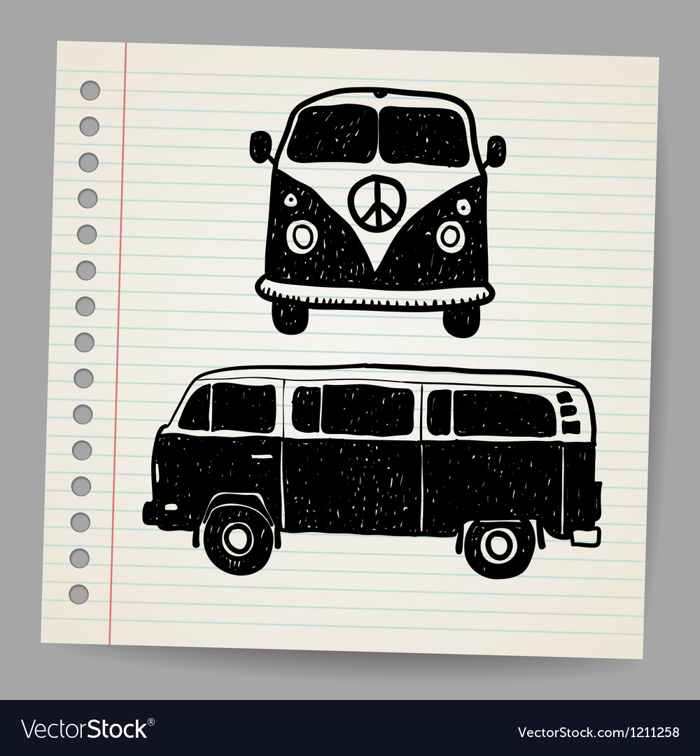 Retro tropical happy hippie micro surfboard bus vector | Price: 1 Credit (USD $1)