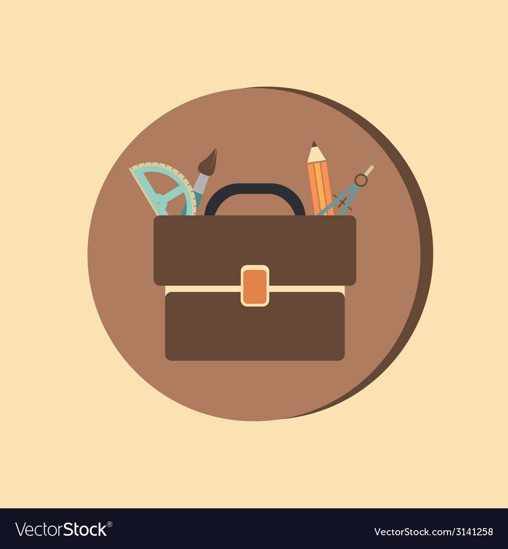 School bag with stationery symbol office or school vector | Price: 1 Credit (USD $1)