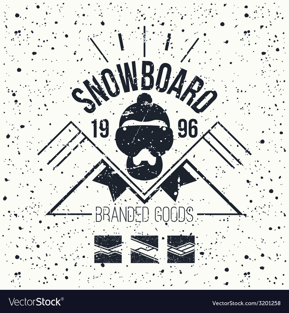 Snowboard retro emblem vector | Price: 1 Credit (USD $1)
