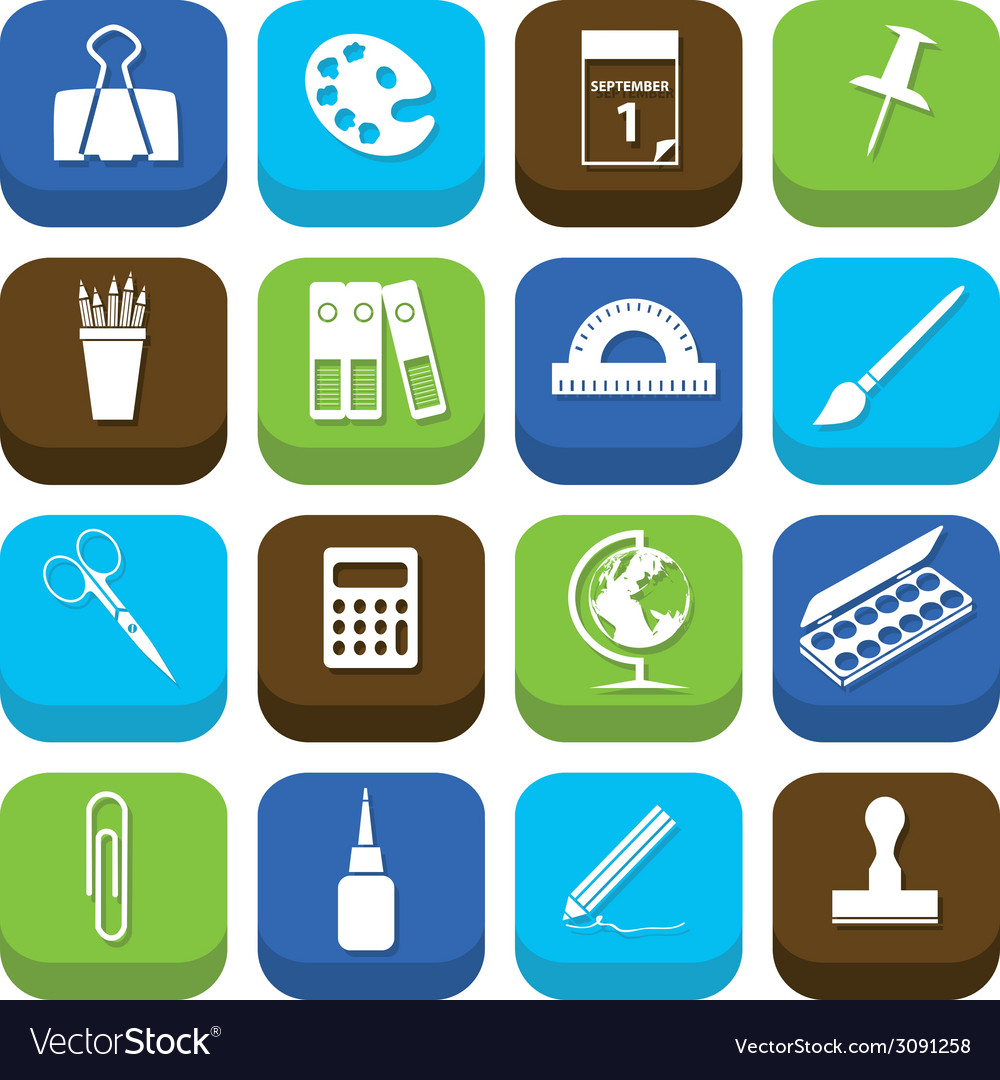 Stationery icons vector   Price: 1 Credit (USD $1)