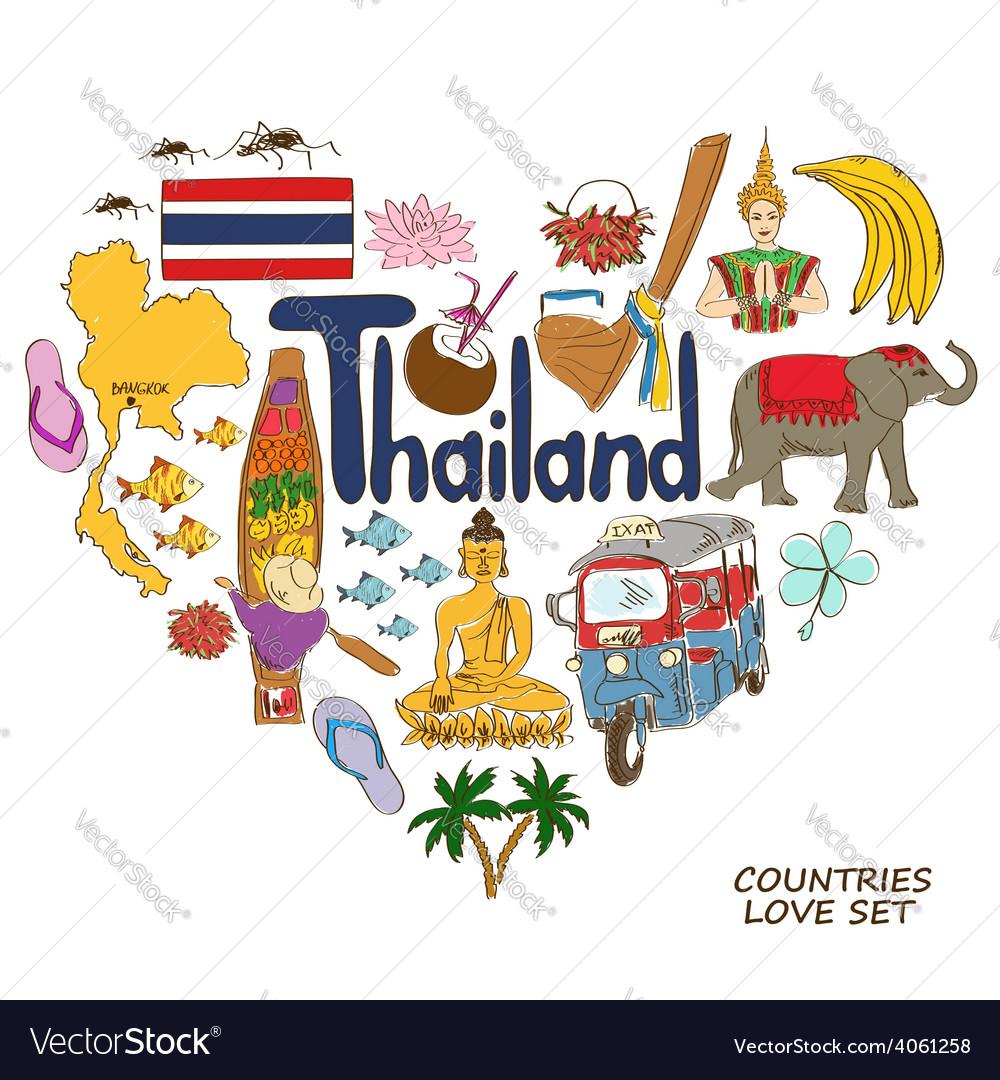 Thailand symbols in heart shape concept vector   Price: 1 Credit (USD $1)
