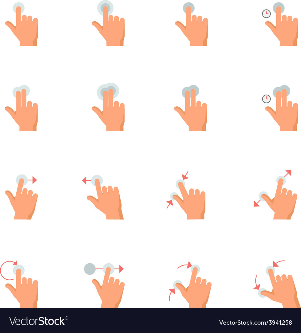 Touch gestures icons vector | Price: 1 Credit (USD $1)
