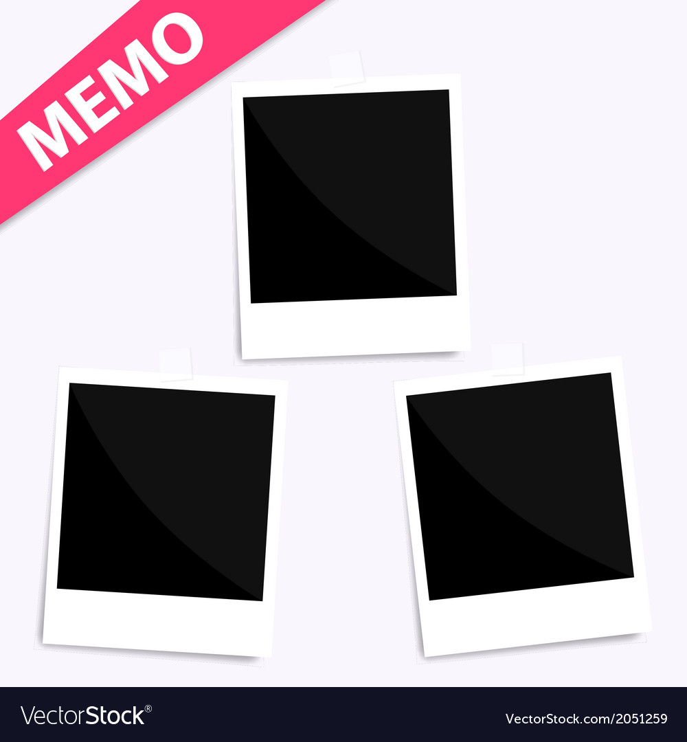 3 memo polaroid photo on wall vector | Price: 1 Credit (USD $1)