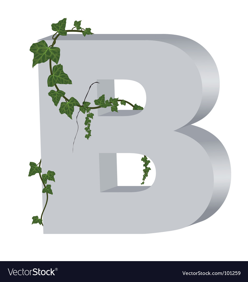 3d b letter with ivy vector | Price: 1 Credit (USD $1)