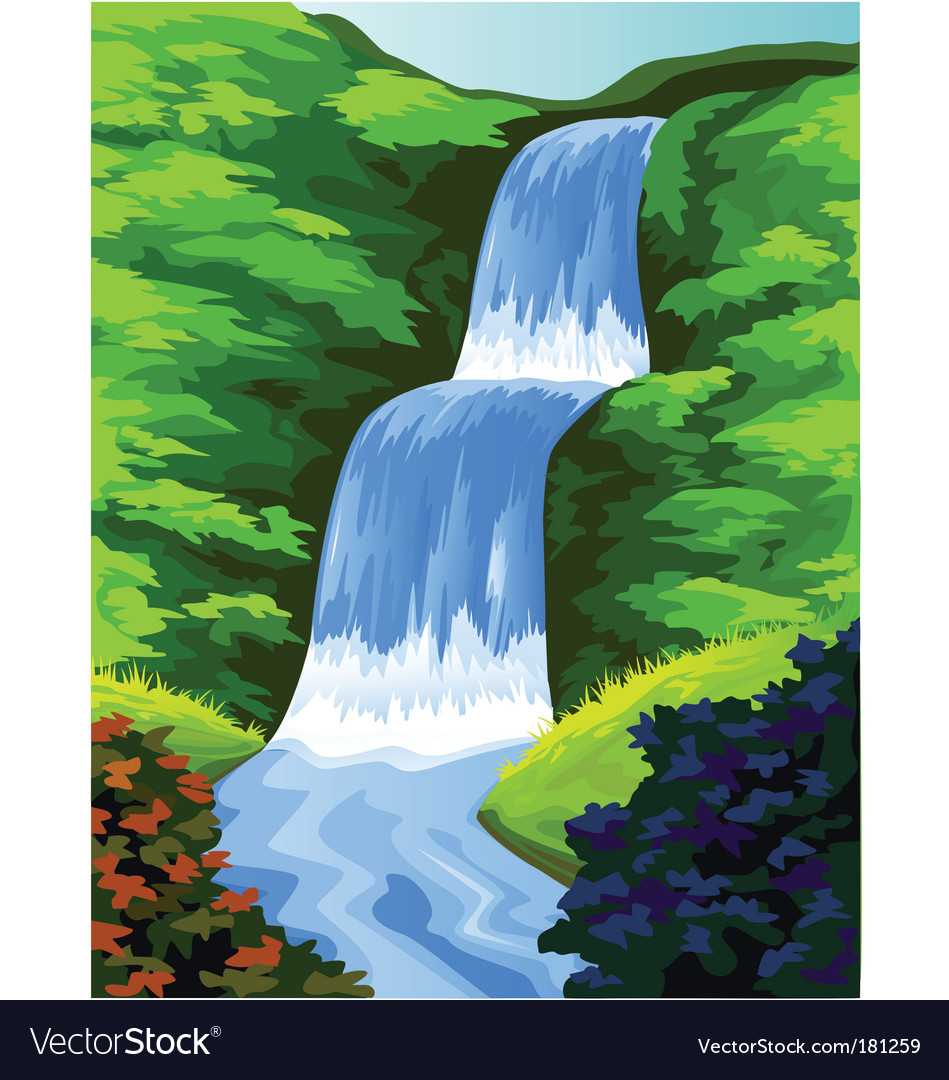 Beautiful waterfall vector | Price: 1 Credit (USD $1)