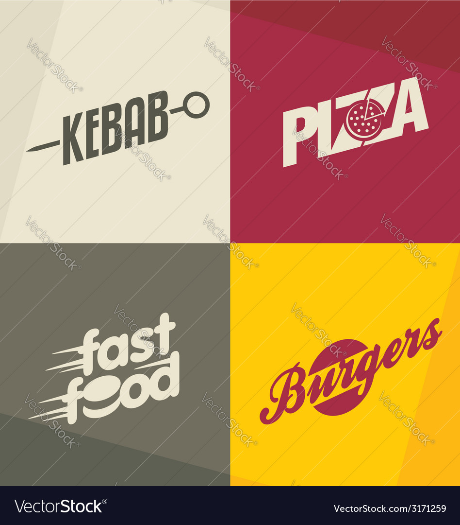 Fast food logos vector | Price: 1 Credit (USD $1)