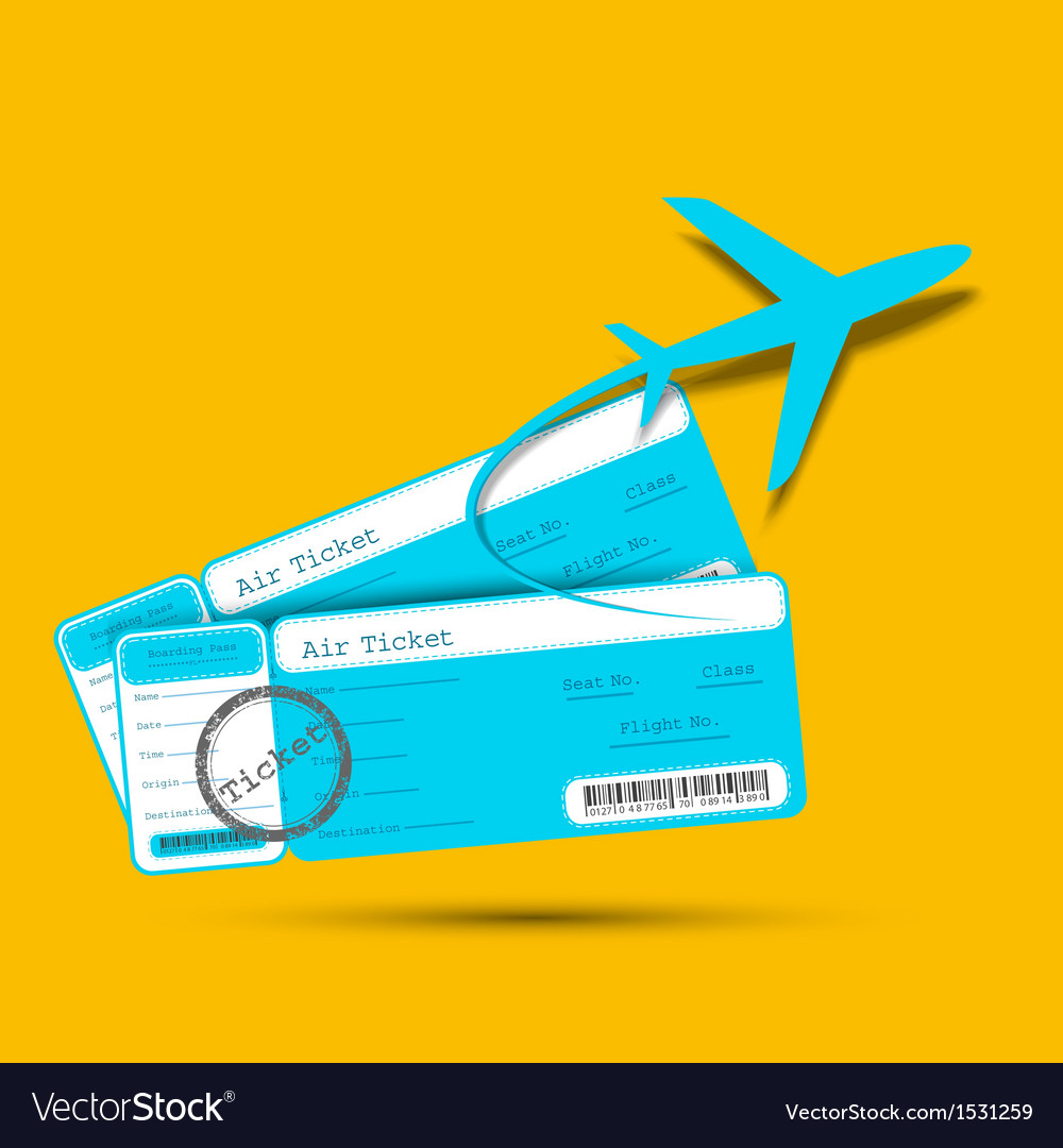 Flight ticket with airplane vector | Price: 1 Credit (USD $1)