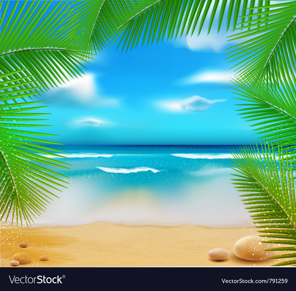 Golden beach sunset vector | Price: 3 Credit (USD $3)