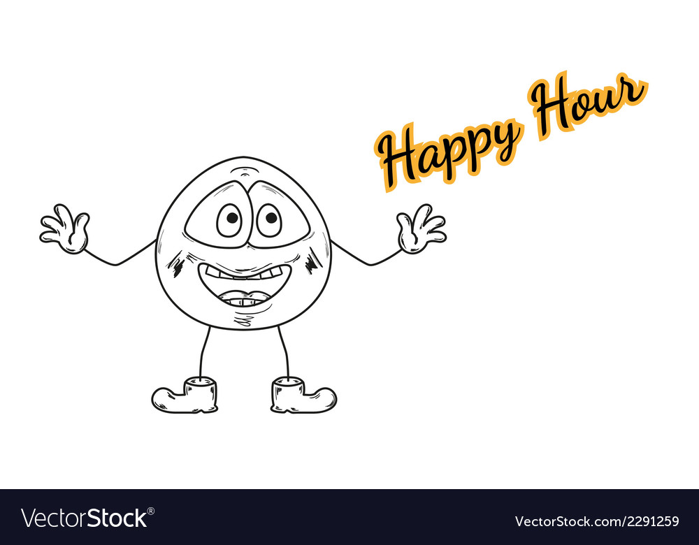 Happy hour with emoticon vector | Price: 1 Credit (USD $1)