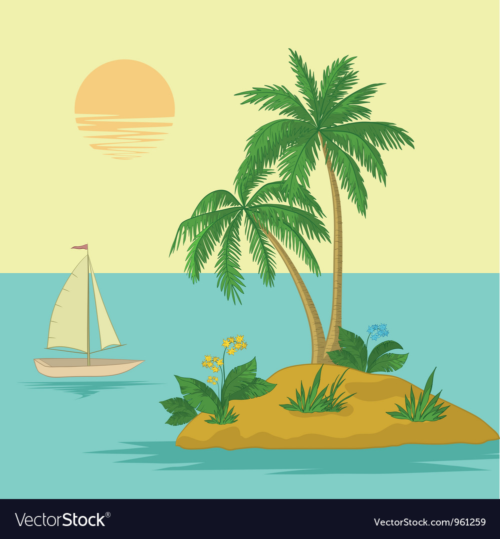 Island with palm and ship vector | Price: 1 Credit (USD $1)