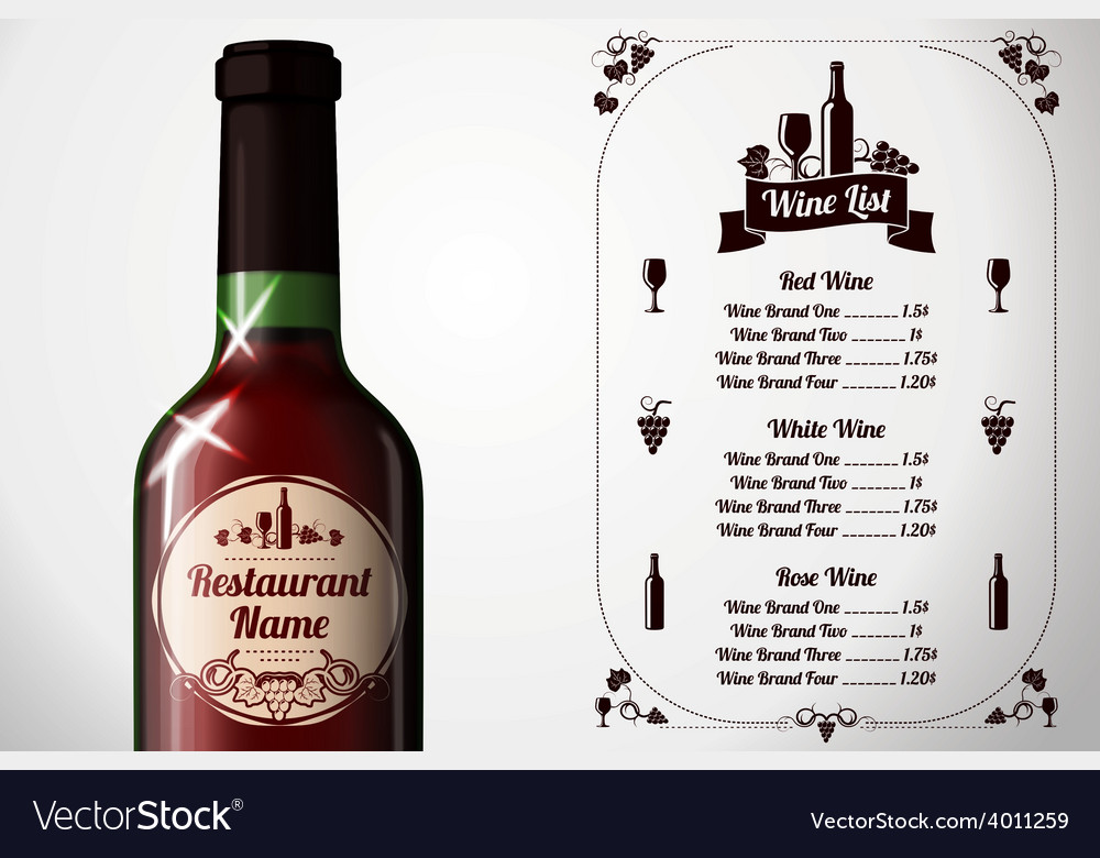 Menu template - for alcohol with realistic red vector | Price: 3 Credit (USD $3)