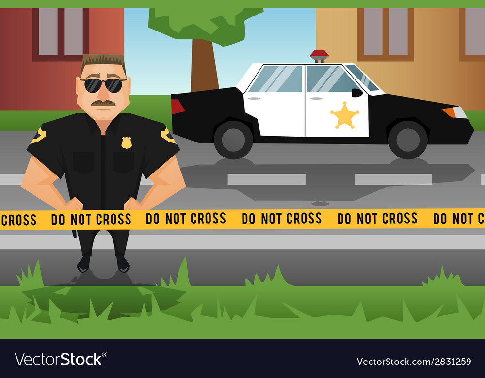 Policeman and patrol car vector | Price: 3 Credit (USD $3)
