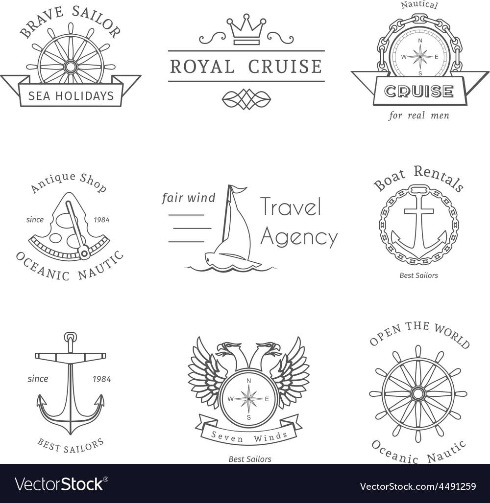 Retro nautical logo templates vector | Price: 1 Credit (USD $1)