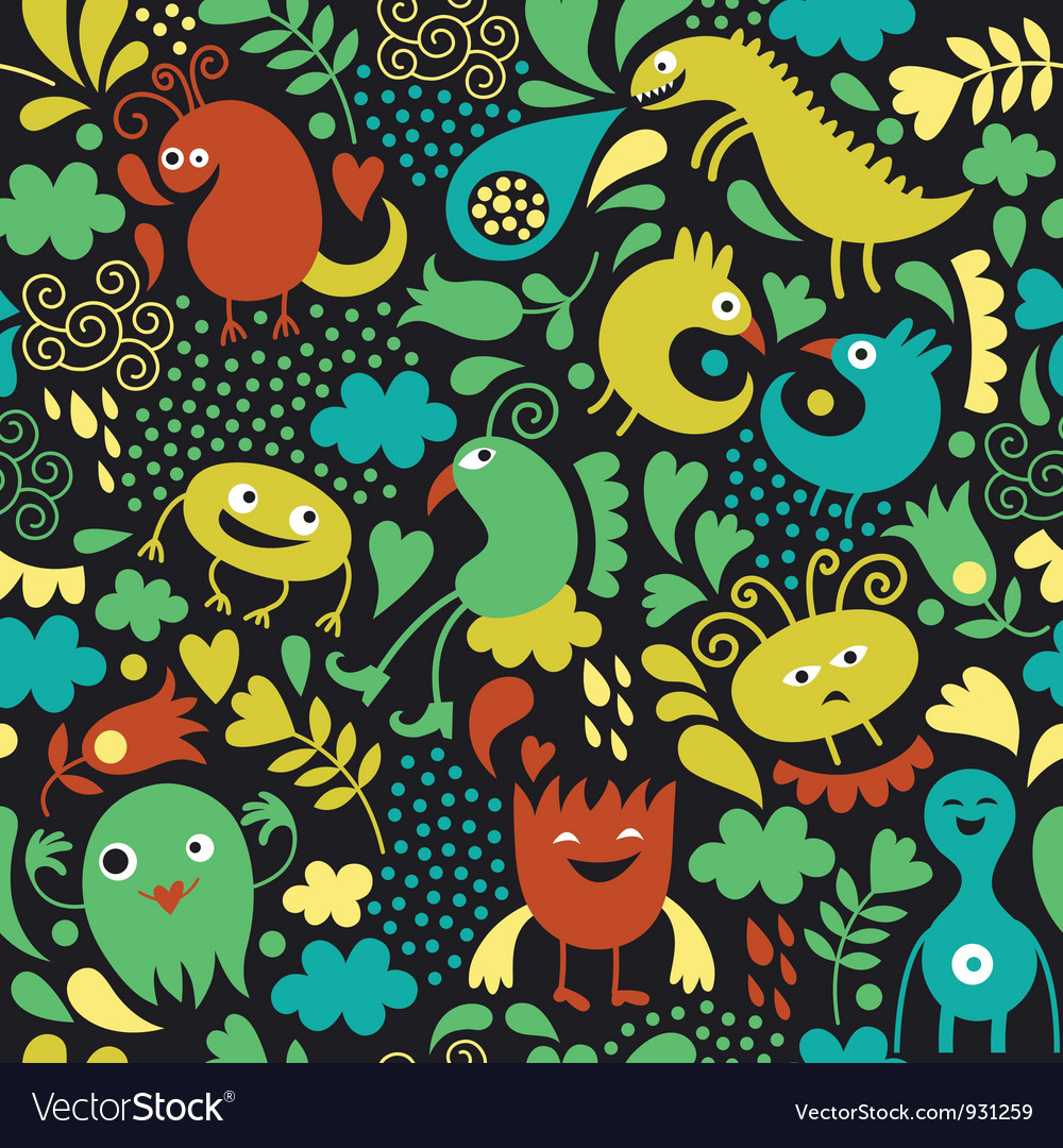 Seamless pattern with cute monster vector | Price: 3 Credit (USD $3)