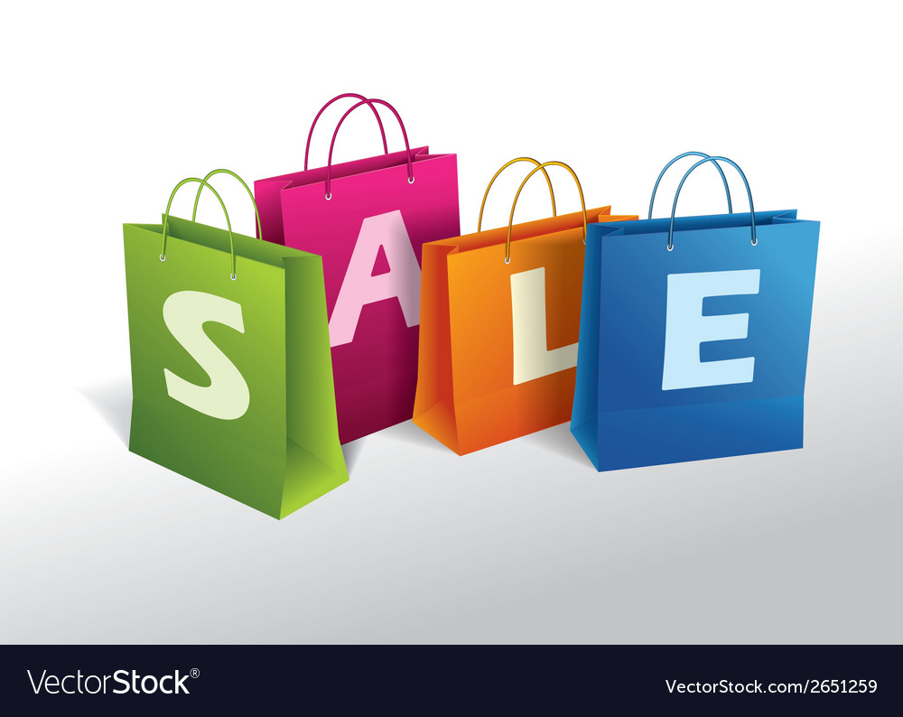 Shopping bags on white vector   Price: 1 Credit (USD $1)