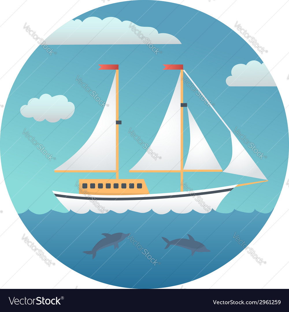 Yacht detailed vector | Price: 1 Credit (USD $1)