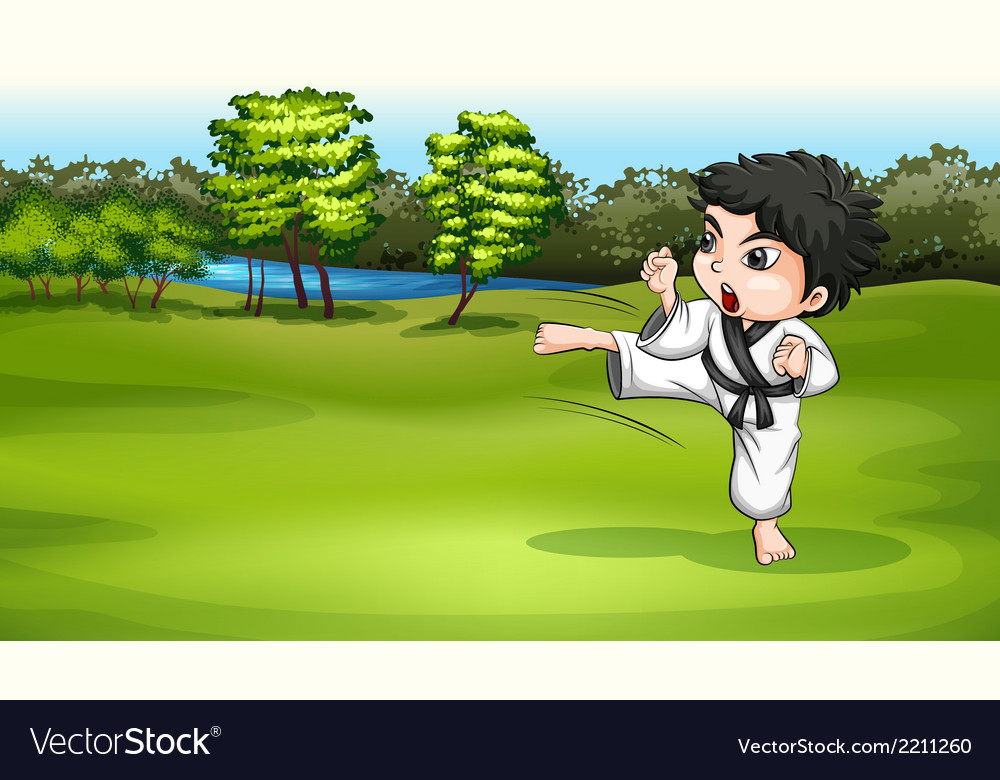 A young boy practicing karate near the river vector | Price: 3 Credit (USD $3)