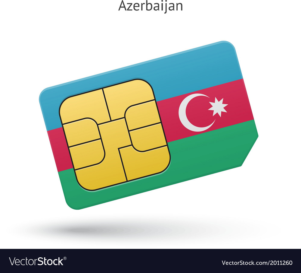 Azerbaijan mobile phone sim card with flag vector | Price: 1 Credit (USD $1)