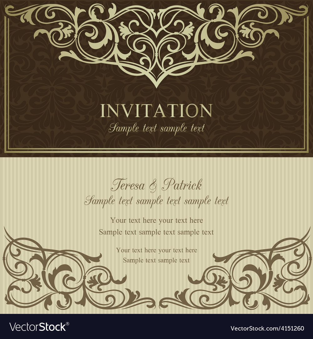 Baroque invitation brown and beige vector   Price: 1 Credit (USD $1)