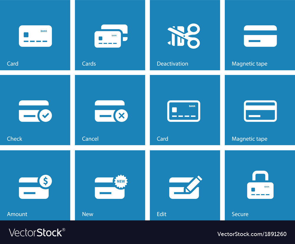 Credit card icons on blue background vector | Price: 1 Credit (USD $1)