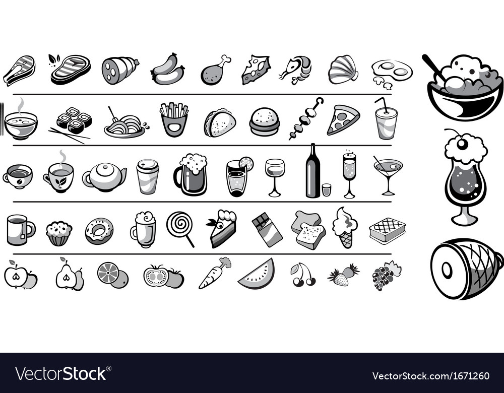 Food icons collection vector | Price: 1 Credit (USD $1)