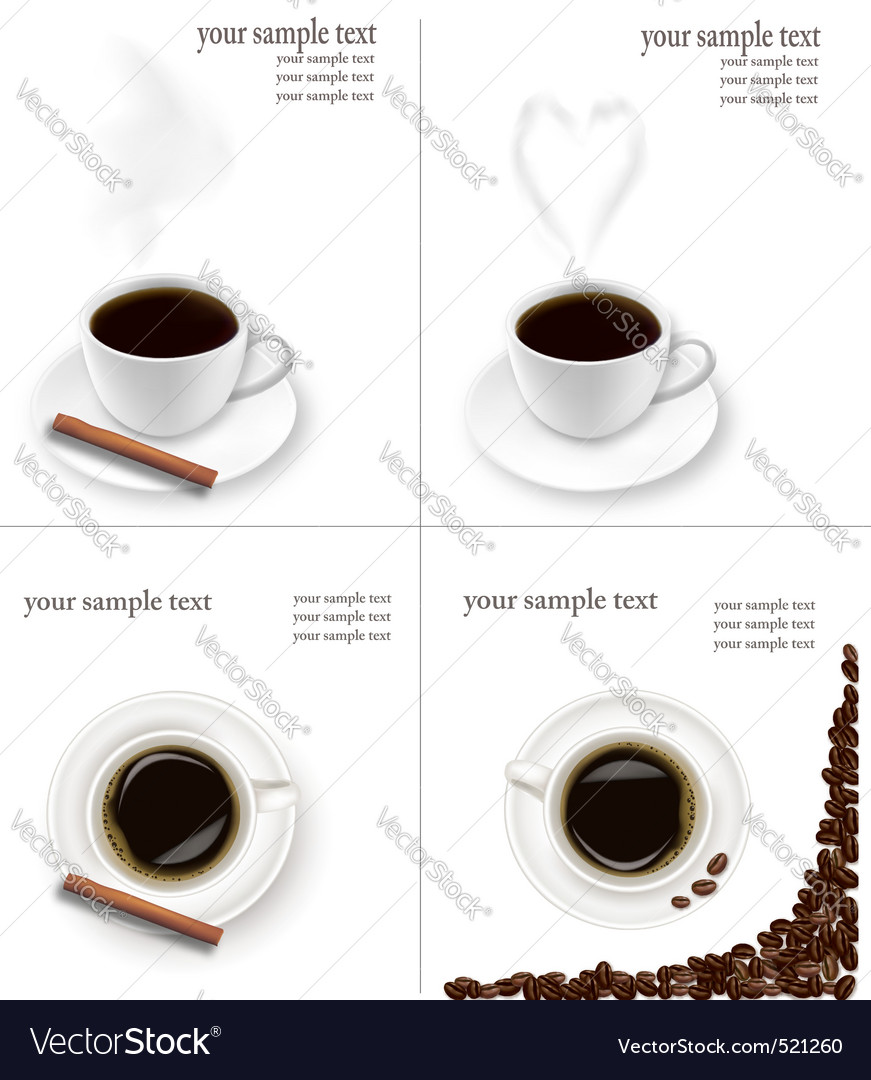 Four design coffee backgrounds vector | Price: 3 Credit (USD $3)