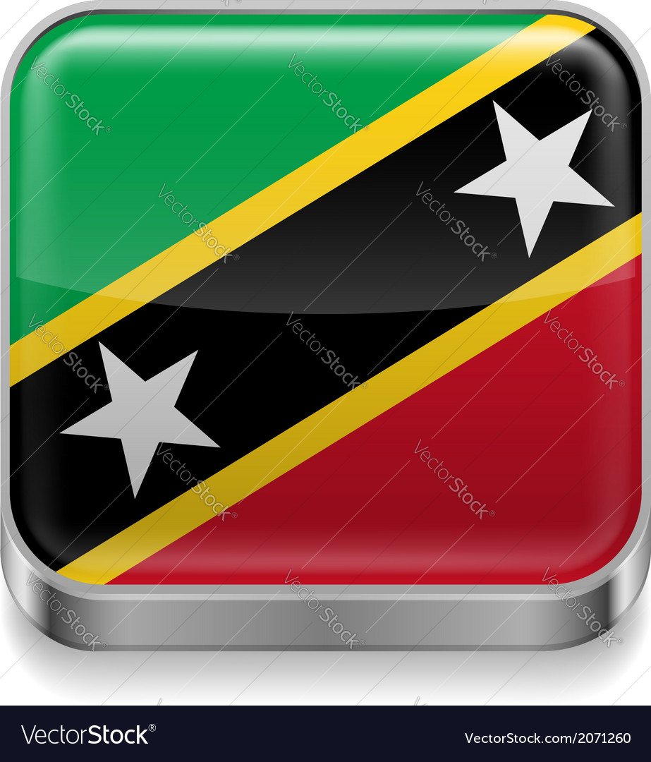 Metal icon of saint kitts and nevis vector | Price: 1 Credit (USD $1)