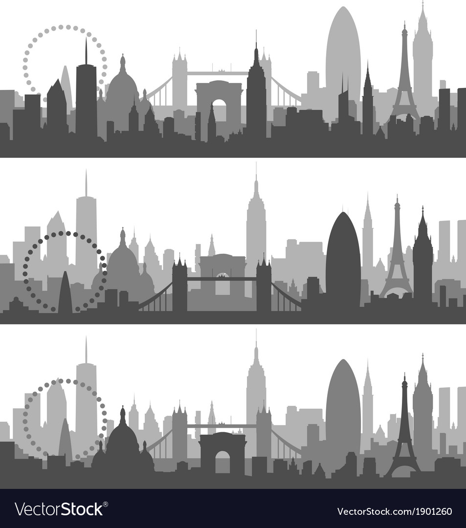 New york paris and london profiles vector | Price: 1 Credit (USD $1)