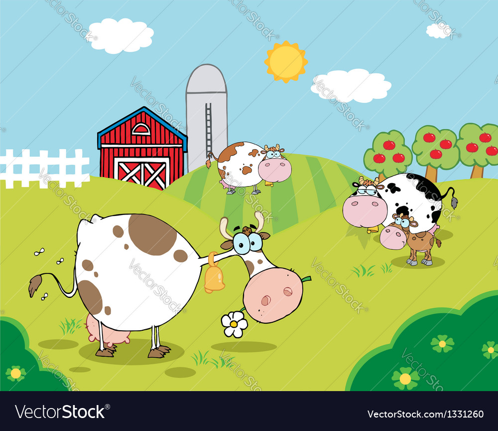 Pasture of grazing dairy cows vector | Price: 1 Credit (USD $1)