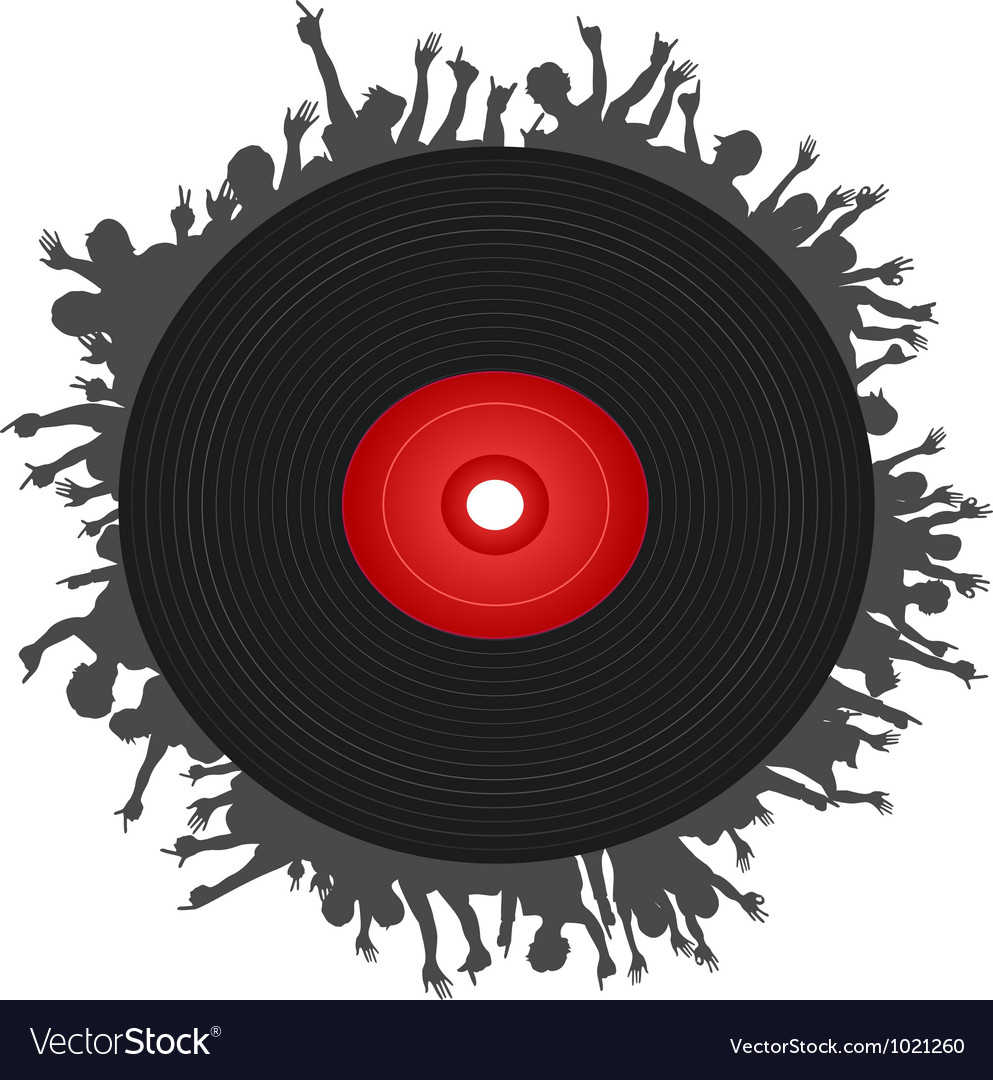 People around the black record vector | Price: 1 Credit (USD $1)