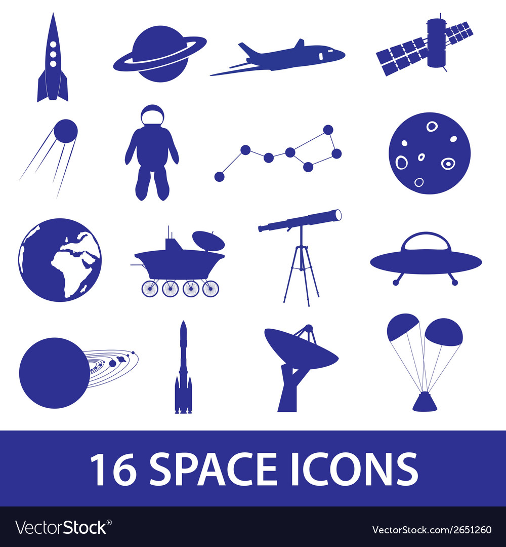 Space icon set eps10 vector | Price: 1 Credit (USD $1)