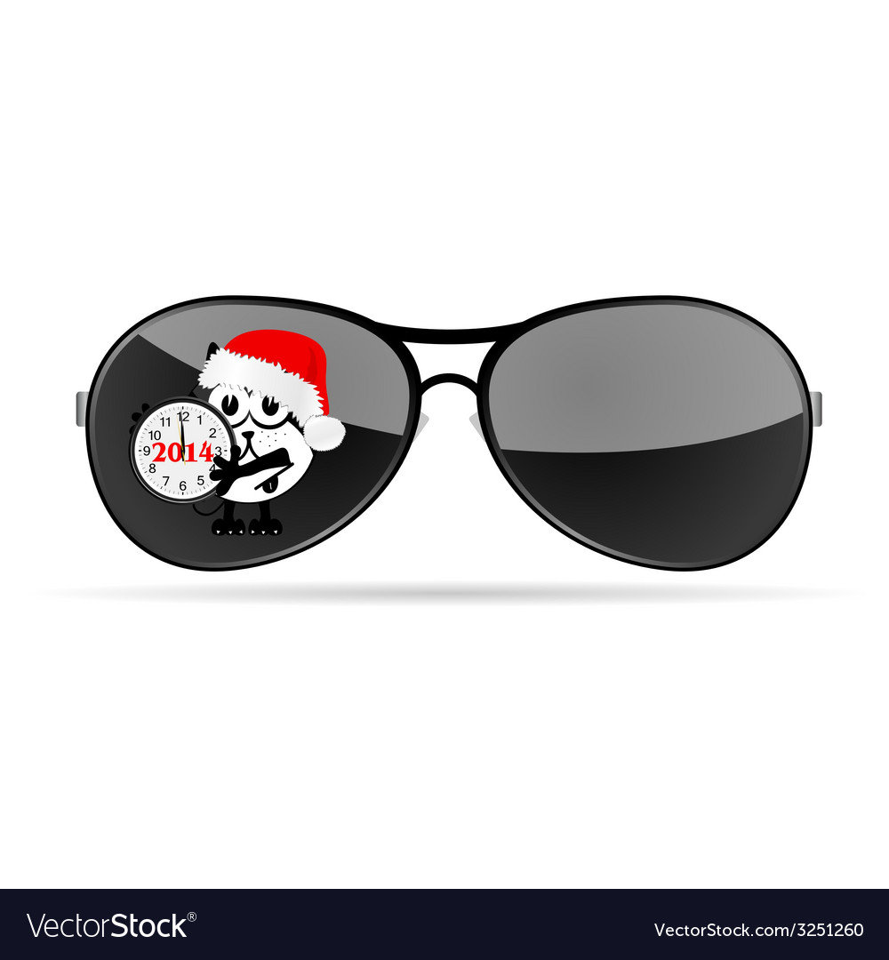 Sunglasses with cute animal and christmas clock vector | Price: 1 Credit (USD $1)