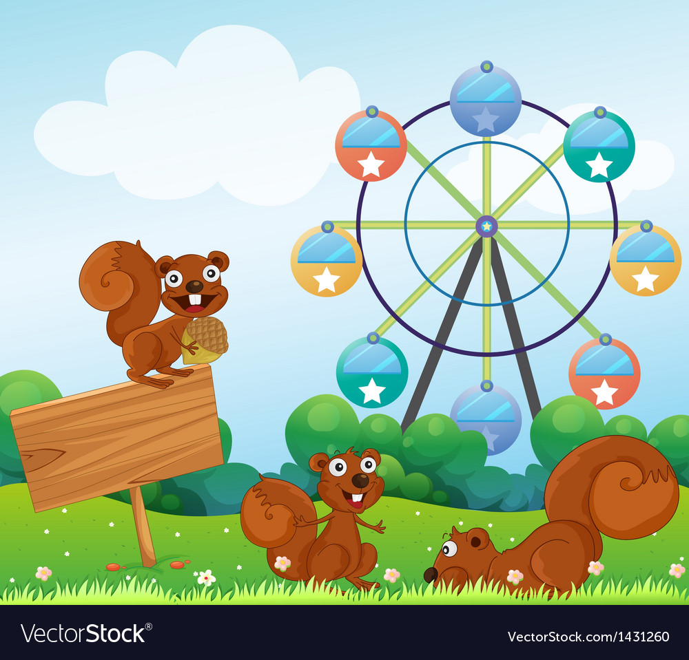 Three playful squirrels near the empty arrowboard vector | Price: 1 Credit (USD $1)