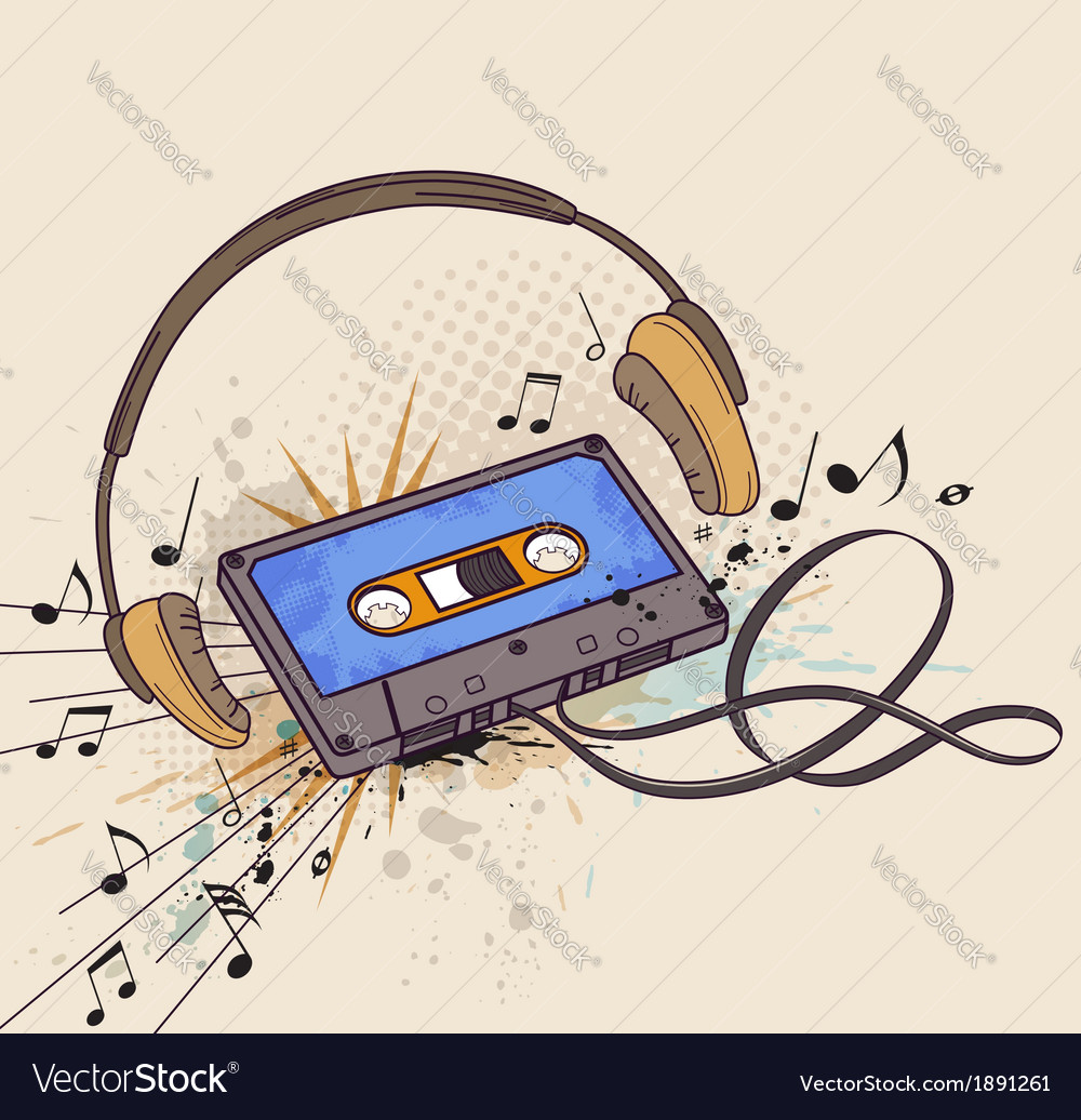 Audio cassette and headphones vector | Price: 1 Credit (USD $1)