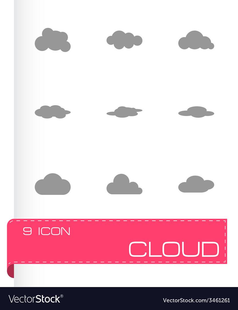 Black cloud icon set vector | Price: 1 Credit (USD $1)