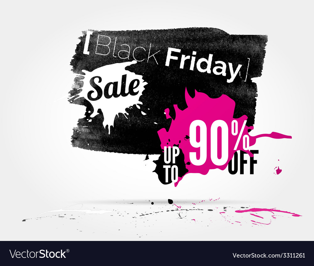 Black friday watercolor banner with splashes vector | Price: 1 Credit (USD $1)