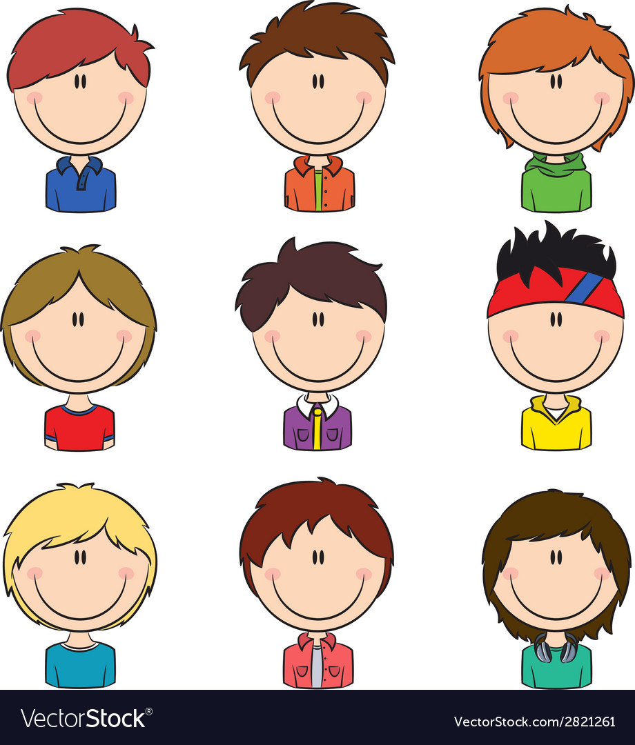 Boys avatar vector | Price: 1 Credit (USD $1)