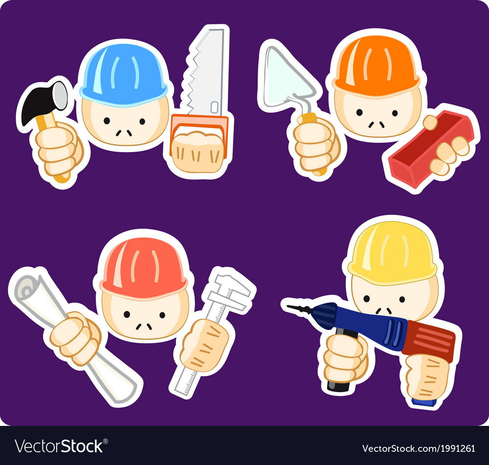 Builders with professional tool vector | Price: 1 Credit (USD $1)